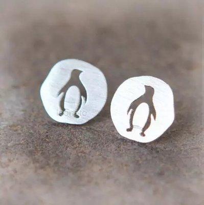 Pinguïn Oorknoppen Zilverkleurig