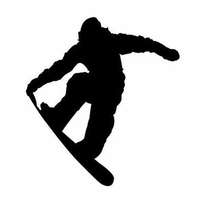 Snowboarder Autosticker Zwart