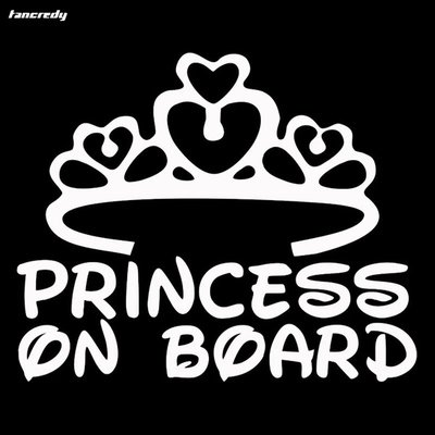 Princess on Board Autosticker Zilverkleurig