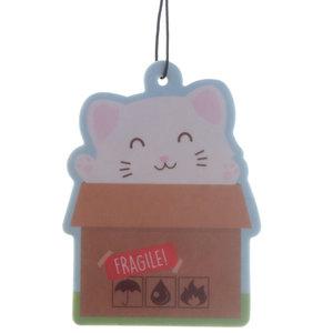 Kat in Doos Luchtverfrisser Air Freshener Autoparfum Vanille Cat Poes Kawaii